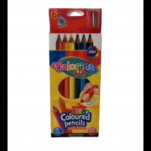 Colorino pastelky trojhranné 6 farieb JUMBO 17,5cm + strúhadlo