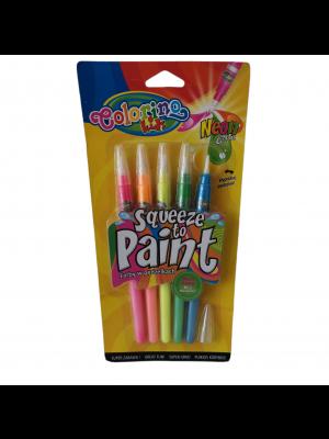 Colorino farby v tube so štetcom 5 farieb NEON
